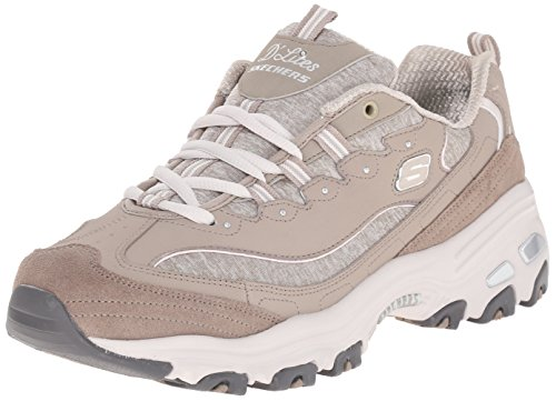 Skechers Sport Women's D'Lites Memory Foam Lace-up Sneaker,Taupe,7.5 W US