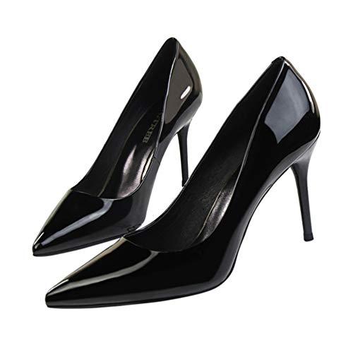 Hauteur à Aiguilles Talon Chaussures Talon Pompes Chaussures Talons Sexy Femmes Hauts Femmes Bout Talons Noir Mince 9cm Paillettes JRenok Pointu 1Xw8FqTx71