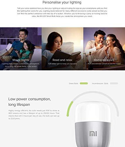 Xiaomi MJDP02YL Mi Led Smart Bulb E27 with Alexa and Google Assistant, Aluminum alloy/Plastic, White