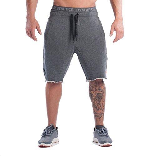 Men's Training Workout Gym Shorts Casual Drawstring Running Biking Athletic Sweatpant Short?Gray,L tag XXL?