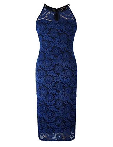 Donna Collo Forti Festa Delicato Cocktail Allungare Taglie Halter Vestito Chicwe Blu Pizzo Reale Vestito 4w8qd4