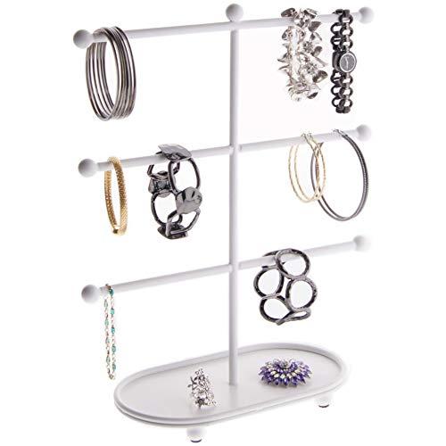 Hoop White Bracelet - Angelynn's Large Bracelet Holder Organizer Tree Stand Display Hanging Jewelry Storage Hoop Earring Rack, Amy White