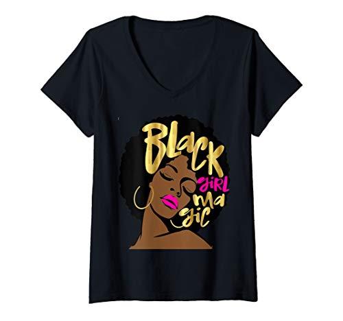 Womens Black Girl Magic Gift Afro Woman Gold Hot Pink Diva V-Neck T-Shirt