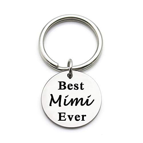 XYBAGS Mothers Day Christmas Birthday Gifts for Mimi, Metal Pendant Keychain Key Tag for Grandma, Best Mimi Ever