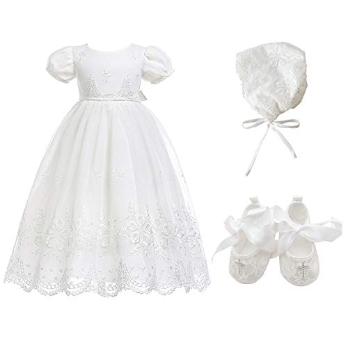 Glamulice Baby-Girls Newborn Satin Christening Baptism Floral Embroidered Dress Gown Outfit (6-12 Months, Off-White Dress & Hat & Shoes)
