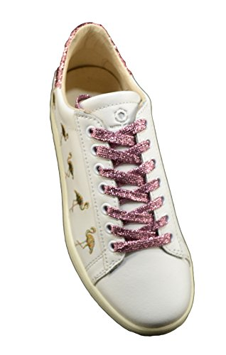 Rosa MOA Ricami Fenicotteri 37 Sneakers Pelle Lurex Bianca pO6pq