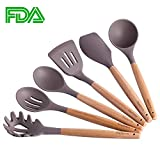 #8: Silicone Cooking Utensils, 6 Pieces Nonstick Heat Resistant Kitchen Utensil Set BPA Free with Natural Wood Handle by Maphyton
