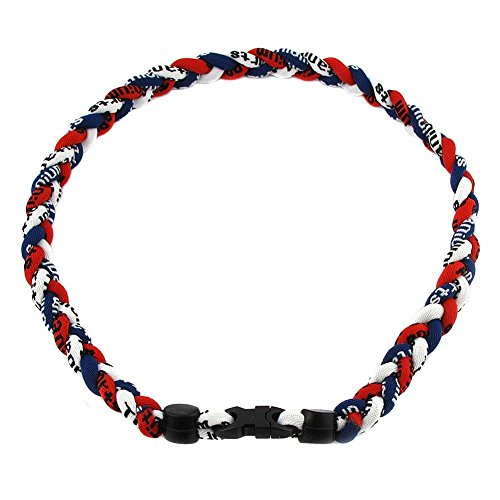 Twisted 3 Rope Braided Titanium Ionic Sports Necklace Baseball Necklace (White/Dark Blue/Red, 20inch)