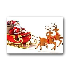"""Novedoso diseño de reno de Navidad con Papá Noel personalizados personalizado duradera lavable a máquina interior/al aire libre Felpudo 23.6""""(L) X 15,7(W) pulgada"""
