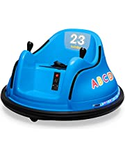 Kidzone 12V 2 Speed Bluetooth Music Kids Toy Electric Ride On Bumper Car 360 Spin Battle Vehicle with Remote Control, DIY Race# 00-99 and Alphabet Stickers, ASTM-Certified, 9 Colors