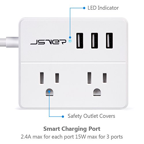 JSVER Compact Travel Power Strip with 3 USB Smart Charging Station and 2 Power Outlet, White by JSVER (Image #2)
