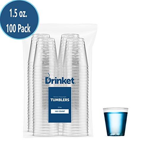 DRINKET CLEAR PLASTIC SHOT GLASSES 1.5 Oz - Disposable Shot Glasses Bulk - Wine Tasting Cups - Small Plastic Tumbler - Shooter, Whiskey Mini Shot Cups ? Hard small plastic cups bulk - 100 Pack.