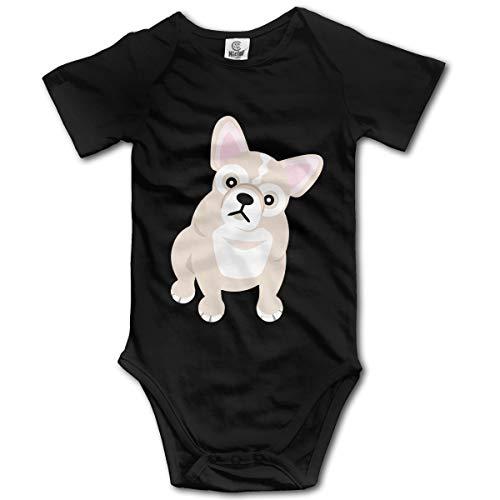 YUE-SKD-SK French Bulldog Blonde Creeper Jumpsuits Short Sleeve Baby Girls Bodysuit ()