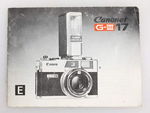 Manual Camera Owners Canon (Canon Canon CANONET GIII 17 Vintage Original Owners Manual)