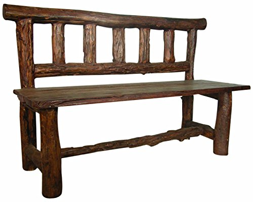 Groovystuff Authentic Solid Reclaimed Rustic Teak Wood Chair Bench for Mountain, Cabin, or Lake House Retreat in Honey Tone Brown ()