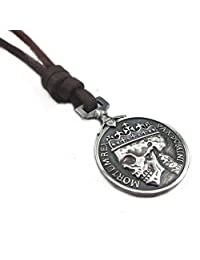 Jirong Brown Leather and Alloy Pendant Adiustable Necklace Mens Necklace Unisex Necklace Cool Necklace Pl231