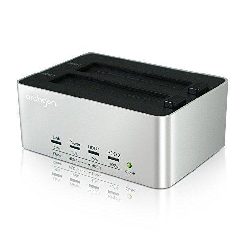 Archgon USB 3.0 Clone & Erase Aluminum Dual Bay Hard Drive Docking Station Model MH-3623-U3