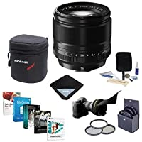 Fujifilm XF 56mm (85mm) F/1.2 Lens - Bundle with 62mm Filter Kit, Lens Case, Cleaning Kit, Lens Wrap, Flex Lens Shade, Professional Software Package