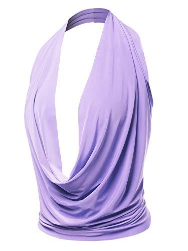 Sexy Drape Deep V-Neck Cowl Neckline Halter Backless Party Club Top Lavender L