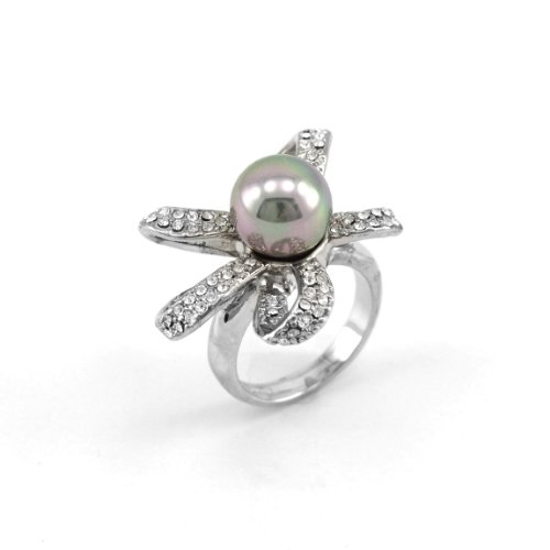 Tahitian Shell Grey Pearl Pave CZ Swarovski Stripe Flower Design Ring Rodium Plated Size - Pave Tahitian Ring