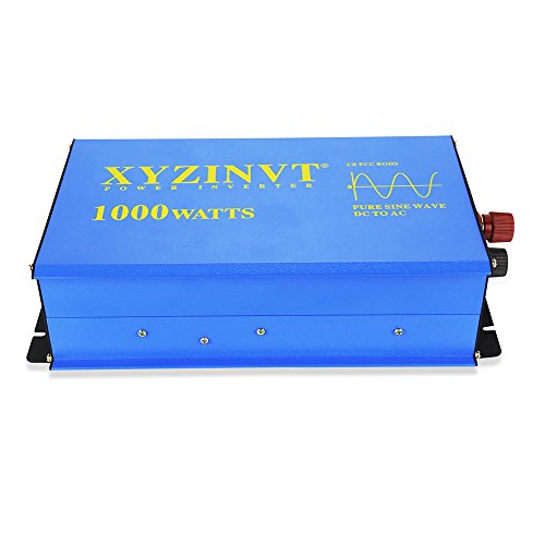 XYZ INVT Digital Display 1000W Power Inverter DC 12V to AC 120V Pure Sine  Wave Converter with 2 AC Outlets for RV/Vehicle/Office/Camping (1000w 12v)