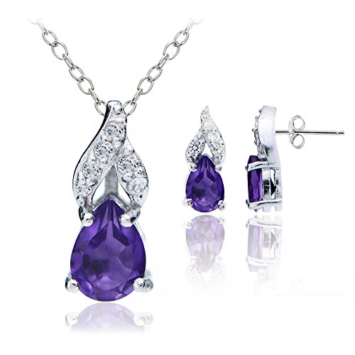 Amethyst Pendant Earrings Set (Sterling Silver 1.25ct TGW African Amethyst and White Topaz Swirl Teardrop Necklace Earrings Set)