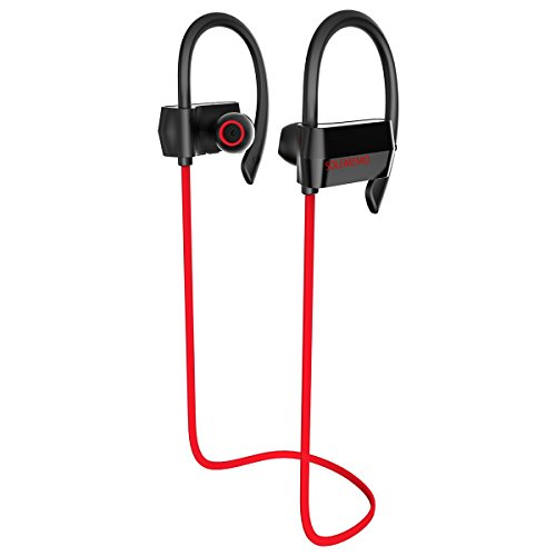 Bluetooth Earbuds Sport Wireless Sweatproof Earhook Headphones with Microphone and Remote for Running Jogging Hiking Gym and Workout (Black/red)
