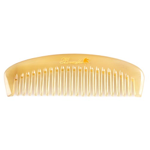 Wide Tooth Hair Comb - Breezelike Detangling Comb for Hair & Beard - No Static Natural Sheep Horn Comb for Women and Men ()