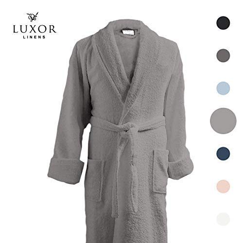 - Luxor Linens Couple's Terry Cloth Bathrobe Egyptian Cotton Unisex/One Size Luxurious Soft Plush Elegant (Single Robe, No Monogram, Light Grey)