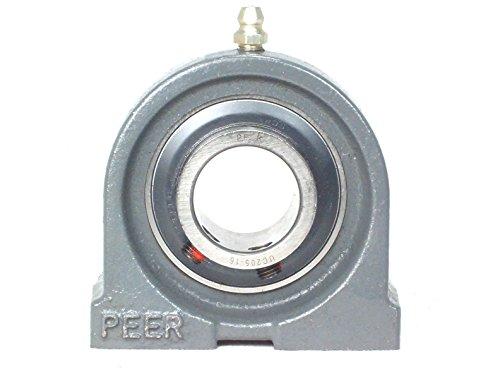 Peer Bearing UCPAS204-12 Pillow Block, Tapped Base, Cast Iron Housing, US Dimensions, Wide Inner Ring, Relubricable, Anti-Rotation Pin, Set Screw Locking Collar, Single Lip Seal, 3/4