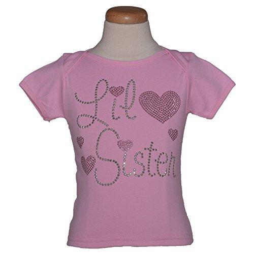 1286 Kids Little Girls Pink Lil Sister Hearts Cotton T-shirt 2T
