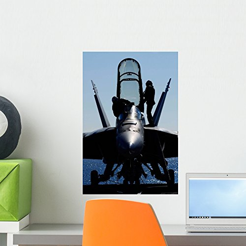Pilots Conducts Pre-flight Inspection Wall Mural by Wallmonkeys Peel and Stick Graphic (18 in H x 12 in W) WM314353