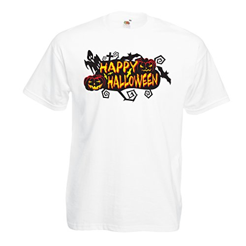T shirts for men Owls, Bats, Ghosts, Pumpkins - Halloween outfit full of Spookiness (X-Large White Multi Color)