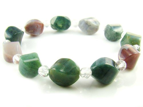 Wagga Shop BA8326 Bloodstone Agate Natural Healing Crystal Stretch Bracelet, Women Bracelet