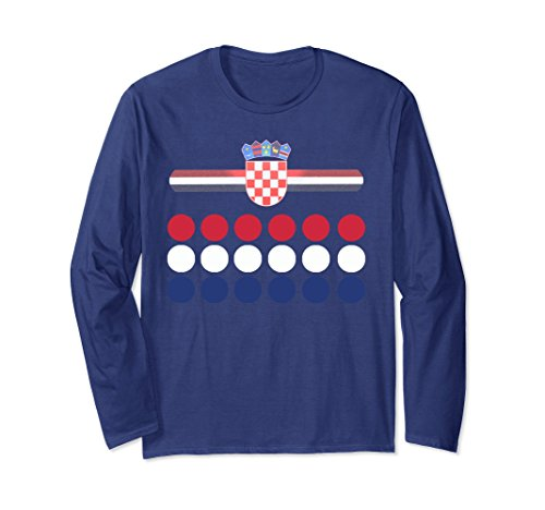 Unisex Croatia Retro Dots and Coat of Arms Long Sleeve Shirt 2XL Navy - National Coat Of Arms