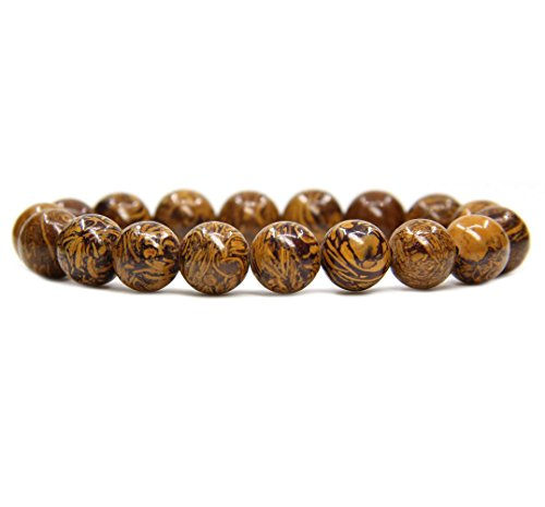 Amandastone Natural Tiger Skin Jasper Genuine Semi-Precious Gemstones Healing 10mm Beaded Stretch Bracelet 7