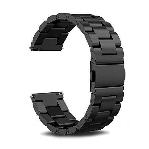 Cbin Quick Release Bracelet - Width 16mm / 18mm / 20mm / 22mm / 24mm Stainless Steel Strap Wrist Band Replacement Watch Bands (Black, 22mm)