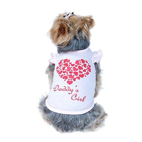 Anima Rhinestone DADDY'S GIRL Dog Shirt with Glittery Heart on Back, X Small Sweet -