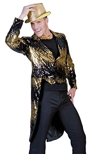 UHC Men's Glitter Tailcoat Dancer Funny Theme Party Adult Halloween Costume, S (6-8) (Clown Tailcoat Costume)