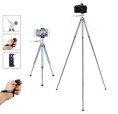 Fotopro Phone Tripod, 39.5 Inch Lightweight Tripod with Bluetooth for Phone 8, 8 Plus, X, 7, 7 Plus, 6, 6+, 5, 4, Samsung Galaxy S8, S8 Plus, S7, S7 Edge, S6, Note 7, and GoPro Hero 5/4/3 (Blue) from Fotopro