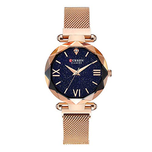 Women Starry Sky Watch Magnetic Buckle Bracelet Watch Diamond Rose Gold Toned Dress Wristwatch ()