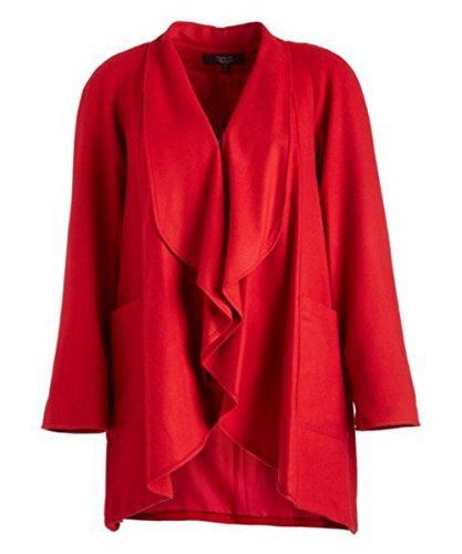 Trilogi Women's Plus Size Wool Coat, Red, 3X