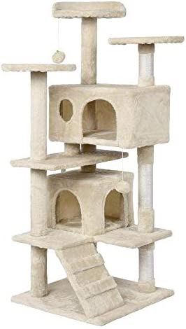 Yaheetech 51in Cat Tree Tower Condo Furniture Scratch Post for Kittens Pet House Play Renewed