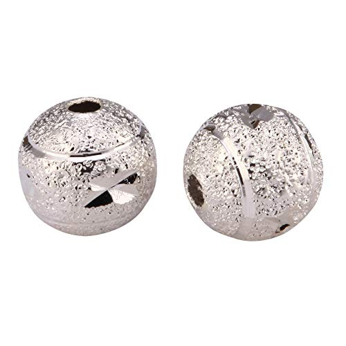 - 50pcs Top Quality 6mm Diamond Pattern Round Spacer Beads Sterling Silver Plated Brass Metal for Jewelry Craft Making CF16-6