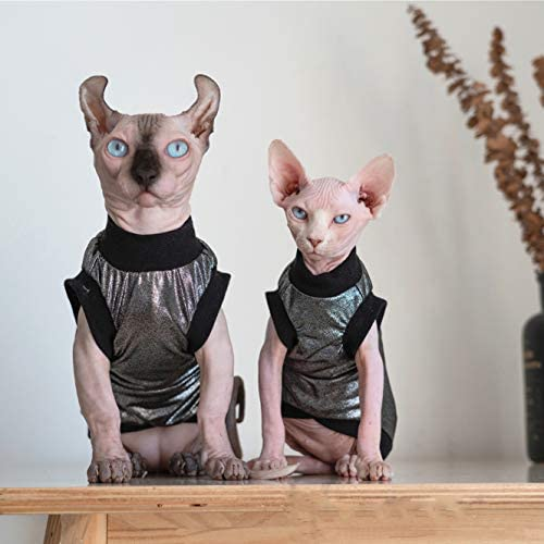 Hairless Cats Clothes, Punk Rock T-Shirt Sleeveless Steampunk Tank Top Vest, Breathable Summer Vest Cat Wear Clothes for Sphynx, Cornish Rex, Devon Rex, Peterbald, Hairless Cats Apparel Assorted Size 31