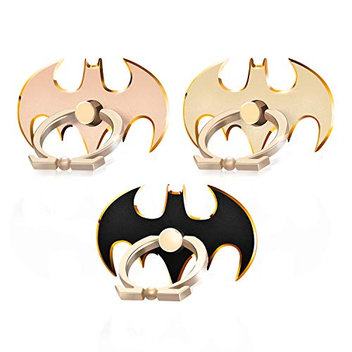 - Cool Batman Phone Holder Ring (3 Pack) Aluminium Alloy Cell Phone Light Stand 360° Rotation Finger Grip Universal Smart Phone Holder (Gold/Pink/Black)