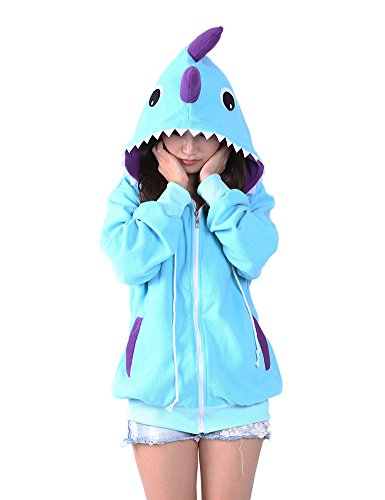 OLadydress Zipper Animal Hoodie Unisex Adult Family Sports Jacket with Pockets DINOSA-BU (Adult Dinosaur Sweater)