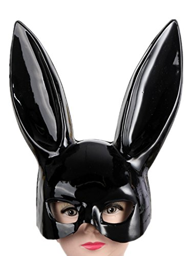 Sorrica Adult Bunny Rabbit Ears Hairband Costume Masquerade Mask for Birthday Party Easter Halloween (Bright Black)]()