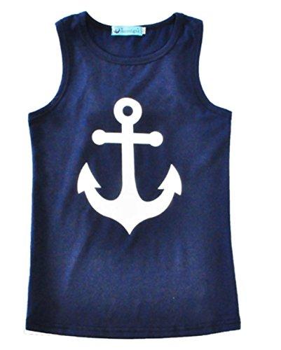 Juicart Girls Kids Anchor Vest Sleeveless Summer Clothes Cotton Tank Tops Bowknot T-Shirt