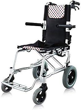 RONGW JKUNYU - Sillas de ruedas de aleación de aluminio de titanio, marco ligero y plegable, silla de ruedas propulsada por asistente, silla de viaje portátil, pesa solo 8,5 kg